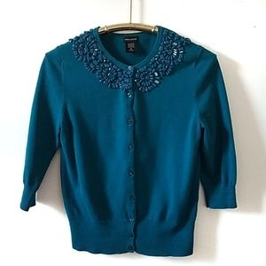 Lord & Taylor long sleeve sweater, turquoise, M